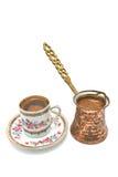 Cuvette de café turque avec le bac photos libres de droits