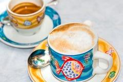 Cuvette de cappuccino et de Coffe Image libre de droits
