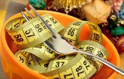 Cuvette de centimètre et de fourchette images stock