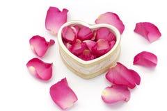 Cuvette de coeur et pétales roses Photo stock