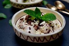 Cuvette de crème glacée avec les feuilles en bon état Photo libre de droits