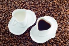 Cuvette de cuvette de lait et de café Photo libre de droits