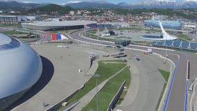 Cuvette de feu olympique de SOTCHI, RUSSIE Sotchi dans l'antenne de parc olympique Cuvette de feu olympique de Sotchi en parc Ste Photos stock