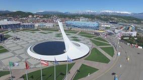 Cuvette de feu olympique de SOTCHI, RUSSIE Sotchi dans l'antenne de parc olympique Cuvette de feu olympique de Sotchi en parc Ste Photo libre de droits