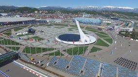 Cuvette de feu olympique de SOTCHI, RUSSIE Sotchi dans l'antenne de parc olympique Cuvette de feu olympique de Sotchi en parc Ste Image libre de droits