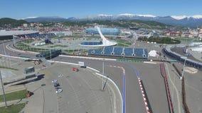 Cuvette de feu olympique de SOTCHI, RUSSIE Sotchi dans l'antenne de parc olympique Cuvette de feu olympique de Sotchi en parc Ste Photographie stock
