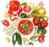 Cuvette de gazpacho et de légumes frais de soupe à tomate Photo libre de droits