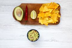 Cuvette de guacamole et d'ingrédients mexicains traditionnels avec le nacho photos libres de droits