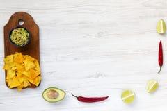 Cuvette de guacamole et d'ingrédients mexicains traditionnels avec le nacho images libres de droits