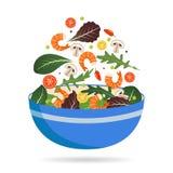 Cuvette de mélange frais des feuilles, des légumes et de crevette de salade Arugula, tomates, paprika, poivrons et champignons Ve Illustration Libre de Droits