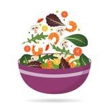 Cuvette de mélange frais des feuilles, des légumes et de crevette de salade Arugula, tomates, paprika, poivrons et champignons Ve Illustration de Vecteur