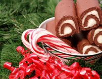 Cuvette de Noël de gâteaux de chocolat Photos stock