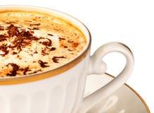 Cuvette de plan rapproché de cappuccino Images libres de droits