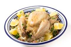 Cuvette de portion de pilaf de poulet Photos stock
