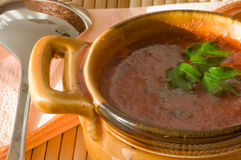 Cuvette de potage de tomate sur la serviette en bambou. Plan rapproché. Images libres de droits