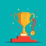 Cuvette de récompense de victoire ou tasse, médaille et piédestal, confettis Trophée ou calice, médaillon et base d'or ou support illustration libre de droits