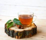 Cuvette de thé avec des bâtons de cannelle Photos stock