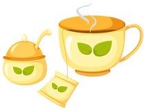 cuvette de thé avec du sucre Photos stock