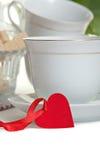 Cuvette de thé avec la forme de coeur Photographie stock