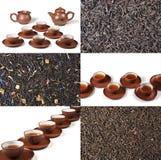 Cuvette de thé avec une boisson régénératrice - un collage Photo stock