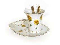 Cuvette de thé de fleur Image libre de droits