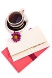 Cuvette de thé et de lettre d'amour Photo stock