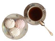 Cuvette de thé et de zephyr Image libre de droits