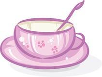 Cuvette de thé rose Photos stock