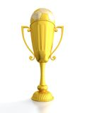 Cuvette de trophée avec la bille de football Image stock