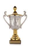 Cuvette de trophée d'or sur le fond blanc Photos libres de droits
