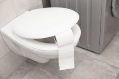 Cuvette des toilettes avec le petit pain de papier photos stock