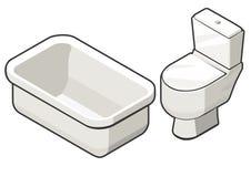 Cuvette des toilettes et bain Photo libre de droits
