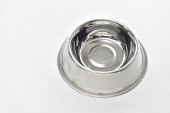 Cuvette en acier vide pour des aliments pour chiens photographie stock