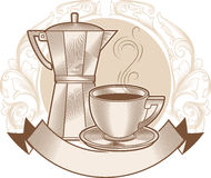 Cuvette et bac de café Image stock