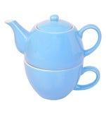 Cuvette et bac de thé bleus Photo libre de droits