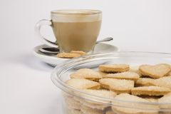 Cuvette et biscuits de café Photos libres de droits