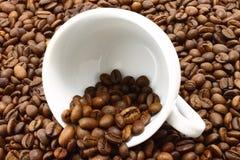 Cuvette et coffeebeans blancs Photographie stock