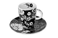 Cuvette fleurie de café express images libres de droits