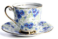 Cuvette florale de café ou de thé photo stock
