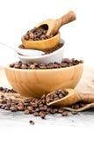 Cuvettes avec des grains de café Photo libre de droits