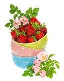 Cuvettes avec la décoration de fraises et de fleurs Photo libre de droits