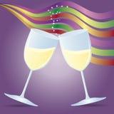 Cuvettes avec le champagne et les bandes illustration de vecteur