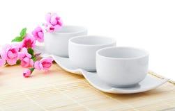 Cuvettes blanches de porcelaine pour le riz Image stock