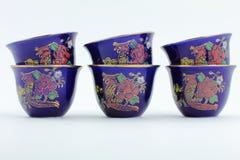 Cuvettes de café arabes peintes Image stock