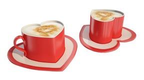 cuvettes de café deux en forme de coeur Image libre de droits