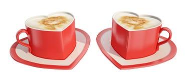 cuvettes de café deux en forme de coeur Photos libres de droits