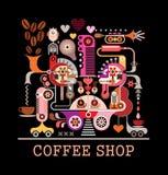 Cuvettes de café et grains de café frais autour Image stock