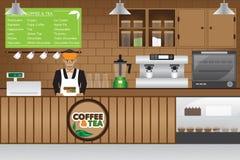 Cuvettes de café et grains de café frais autour illustration stock