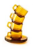 Cuvettes de café sur le blanc Photographie stock libre de droits