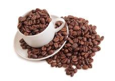 Cuvettes de café sur le blanc Image libre de droits